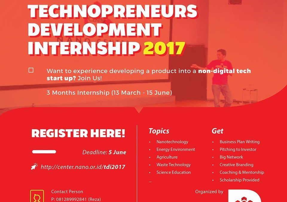 Technopreneurs Development Internship 2017