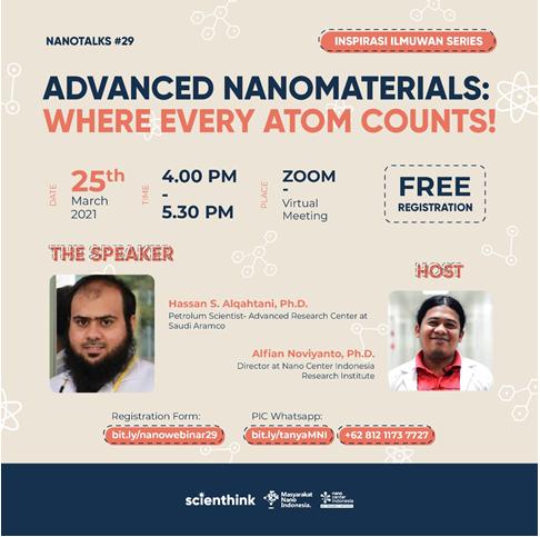 Nano Talks #29 : Advanced Nanomaterial : Where Every Atom Counts (SPECIAL EDITION)