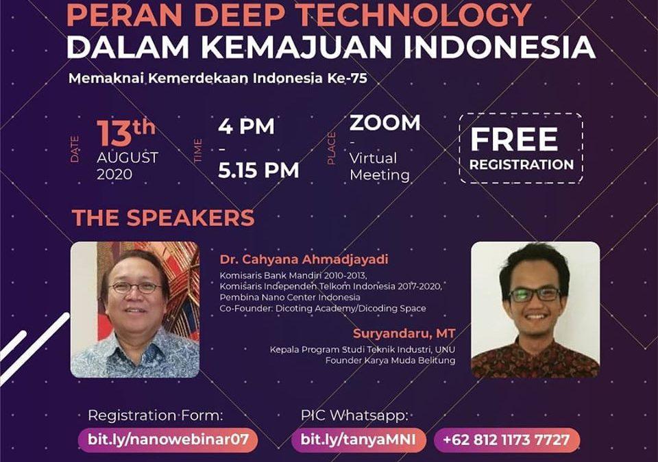 Nanotalks #7 Peran Deep Technology dalam Kemajuan Indonesia