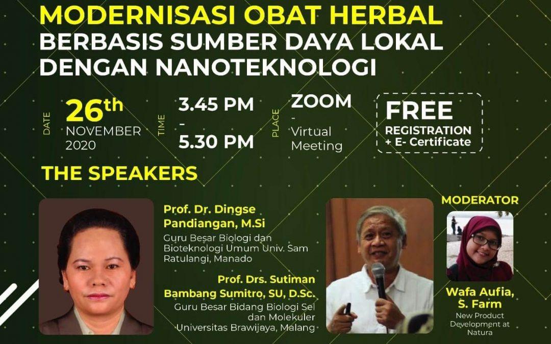 Nano Talks #13 Modernisasi Obat Herbal Berbasis Sumber Daya Lokal dengan Nanoteknologi